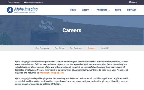 Screenshot of Jobs Page alpha-imaging.com - Careers – Alpha Imaging - captured Jan. 15, 2020
