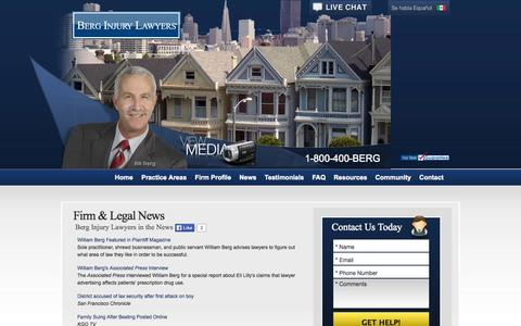 Screenshot of Press Page berginjurylawyers.com - Firm & Legal News | Berg Injury Lawyers - captured Oct. 5, 2014