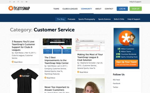 Screenshot of Support Page teamsnap.com - Customer Service - captured March 2, 2017