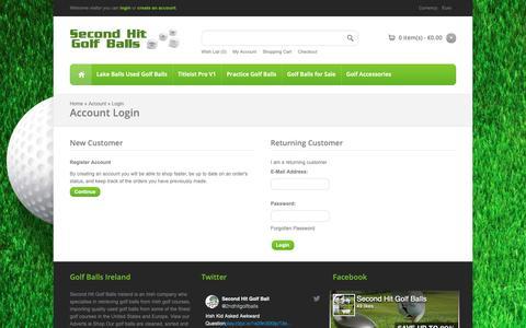 Screenshot of Login Page secondhitgolfballs.com - Account Login Second Hit Golf Balls Ireland - captured Oct. 18, 2018