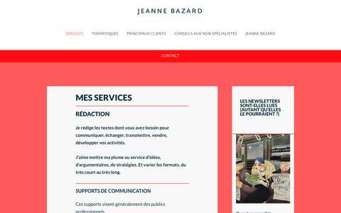 Screenshot of Services Page jeannebazard.fr - Textes de communication, de la newsletter au livre - captured Oct. 16, 2017