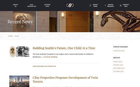 Screenshot of Blog cliseproperties.com - Blog | Clise Properties, Inc. | Commercial Office Properties, Seattle - captured July 14, 2016