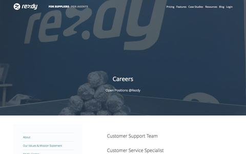Screenshot of Jobs Page rezdy.com - Careers : Rezdy - captured Oct. 31, 2014