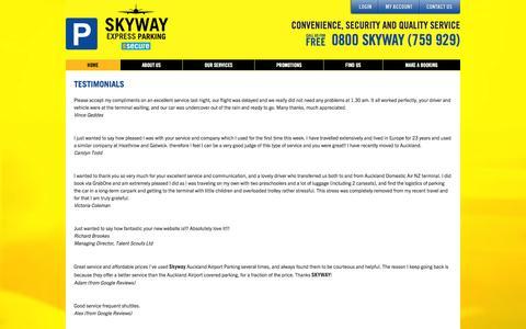 Screenshot of Testimonials Page skyway.co.nz - Testimonials | Skyway Airport Parking - captured Oct. 7, 2014