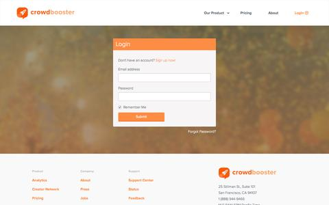 Screenshot of Login Page crowdbooster.com - Login to Crowdbooster - captured Nov. 23, 2015