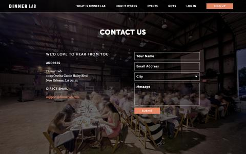Screenshot of Contact Page dinnerlab.com - Contact   Dinner Lab - captured Jan. 16, 2016