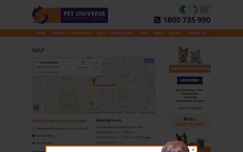 Screenshot of Maps & Directions Page petuniverse.com.au - Map | Pet Universe - captured Oct. 27, 2014