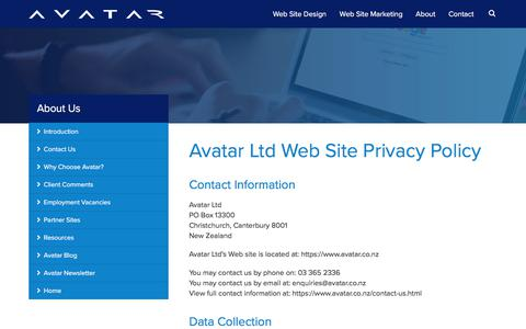 Screenshot of Privacy Page avatar.co.nz - Avatar Privacy Policy : Christchurch Web Site Design, Christchurch Website Design, Christchurch Web Site Design - captured June 29, 2017