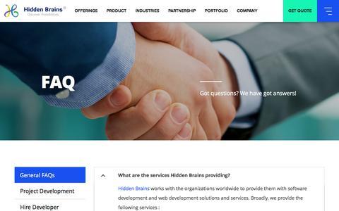 Screenshot of FAQ Page hiddenbrains.com - IT Services & Solutions Company India, Digital Enterprise Solutions, Enterprise Mobile & Web App Development Company - captured June 29, 2018
