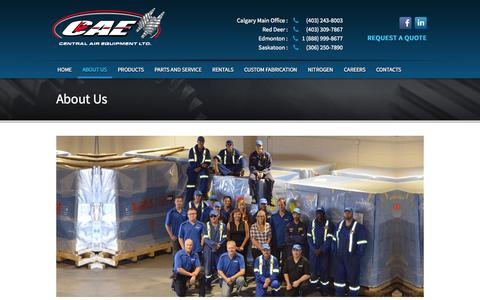 Screenshot of About Page centralairequipment.com - About Us - Central Air Equipment - captured Sept. 29, 2014