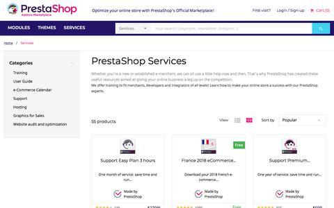 Screenshot of Services Page prestashop.com - PrestaShop Services - PrestaShop Addons - captured Aug. 16, 2018