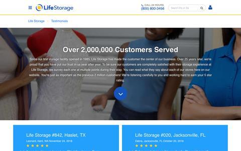 Screenshot of Testimonials Page lifestorage.com - Reviews and Testimonials for Life Storage locations - captured Dec. 5, 2018