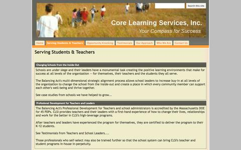 Screenshot of Services Page core-learning-services.org - Serving Students & Teachers - public - captured Oct. 3, 2014