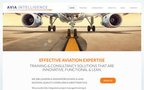Screenshot of Home Page aviaintelligence.com - Avia Intelligence – Keeping Aviation Informed - captured Aug. 8, 2019