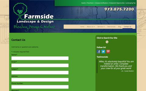 Screenshot of Contact Page farmside.com - Contact Us - Farmside Landscape & Design - captured Oct. 5, 2014