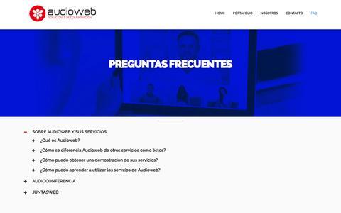 Screenshot of FAQ Page audioweb.com.mx - AUDIOWEB - PREGUNTAS FRECUENTES - captured Feb. 6, 2016