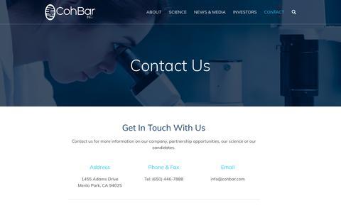 Screenshot of Contact Page cohbar.com - Contact :: CohBar, Inc. (CWBR) - captured Sept. 28, 2018