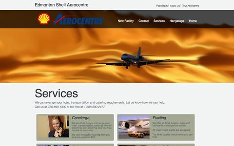 Screenshot of Services Page shellaero.com - The Fineset FBO at YEG - Hangars - Fuel - Quality - captured Oct. 2, 2014