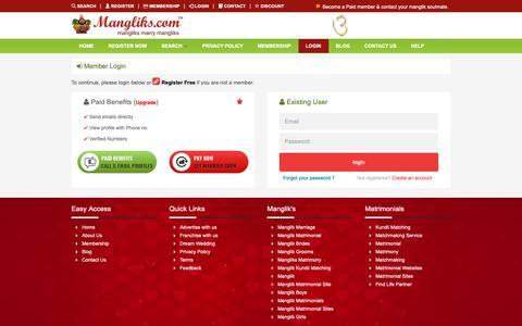 Screenshot of Login Page mangliks.com - Manglik login, Matrimonial, Mangliks Matrimony, Mangliks.com - captured Oct. 2, 2018