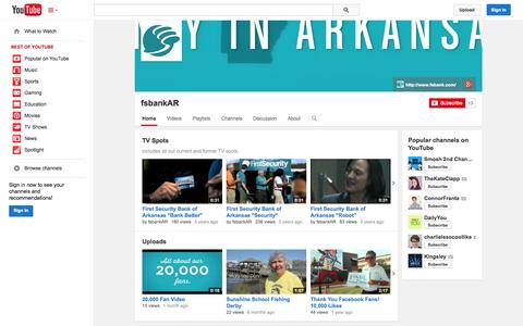 Screenshot of YouTube Page youtube.com - fsbankAR  - YouTube - captured Oct. 23, 2014