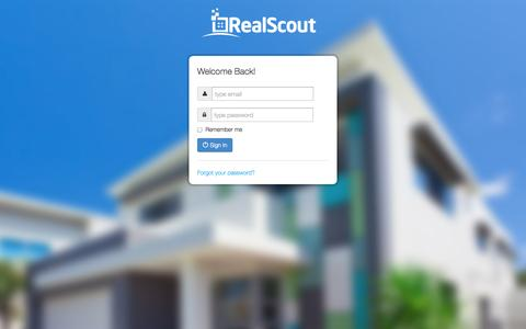 Screenshot of Login Page realscout.com - RealScout - captured Oct. 28, 2014