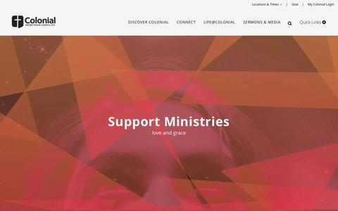 Screenshot of Support Page colonialkc.org - Colonial Presbyterian Church |   Support Ministries - captured Nov. 9, 2016