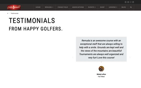 Screenshot of Testimonials Page remudagolf.com - Testimonials | Remuda Golf Course and Driving Range. Best Golf Course in Ogden & Layton Areas - captured Oct. 20, 2018