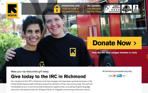Screenshot of Landing Page rescue.org - Give today to the IRC in Richmond | International Rescue Committee - captured Dec. 29, 2017
