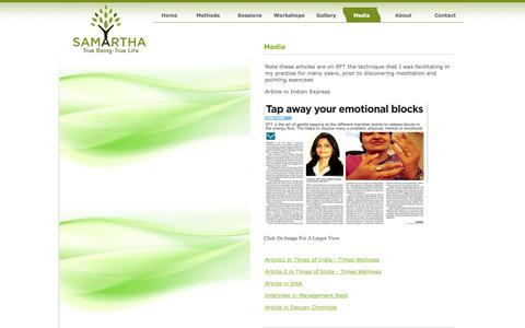 Screenshot of Press Page samartha.net.in - Samartha - Spiritual Stress Relief:  How To Use Spirituatliy for Stress Relief - Relief from sadness,fear,anxiety, anger - captured Sept. 30, 2014