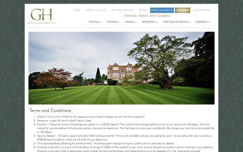 Screenshot of Terms Page goldsboroughhall.com - Cookie Policy | Goldsborough Hall - captured July 21, 2018