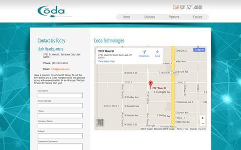 Screenshot of Contact Page gocoda.com - Contact - captured Jan. 29, 2016
