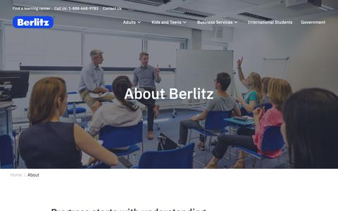 Screenshot of About Page berlitz.com - About Us | Berlitz - captured Feb. 22, 2019