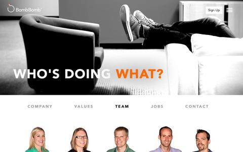 Screenshot of Team Page bombbomb.com - Who's Doing What? - Video Email using Gmail, Mobile, and Web | BombBomb.com - captured Oct. 22, 2015