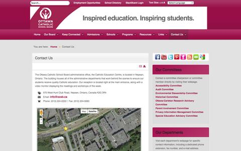 Screenshot of Contact Page ocsb.ca - Contact Us - Ottawa Catholic School Board - captured Sept. 24, 2014