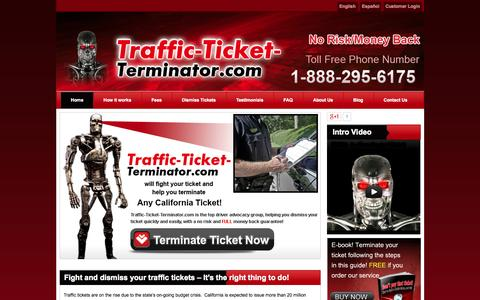Screenshot of Home Page traffic-ticket-terminator.com - Fight California Traffic Tickets and cell phone tickets - captured June 22, 2015