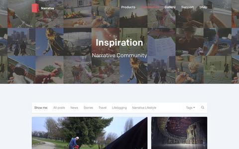 Screenshot of getnarrative.com - Narrative Community - Inspiration - captured March 20, 2016