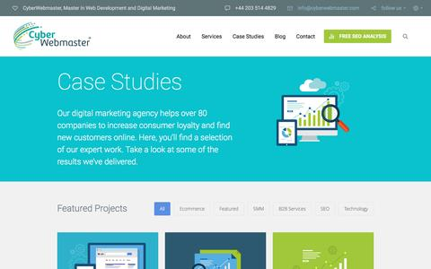 Screenshot of Case Studies Page cyberwebmaster.com - Section: Case Studies | CyberWebmaster - captured May 24, 2017