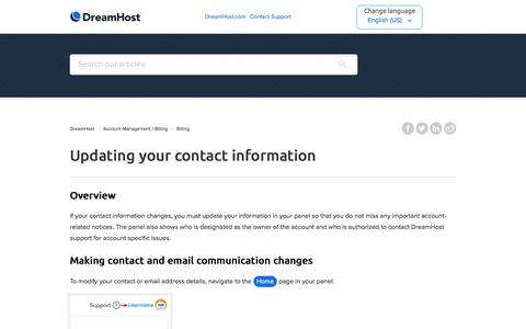 Screenshot of Support Page dreamhost.com - Updating your contact information – DreamHost - captured Feb. 21, 2020