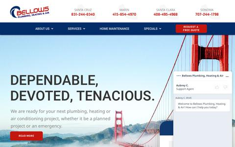 Screenshot of Home Page bellowsservice.com - Plumbing, Heating & AC Company Santa Cruz, Marin, Santa Clara, and Sonoma - captured June 20, 2019