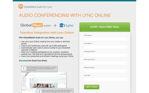 Screenshot of Landing Page pgi.com - GlobalMeet¨ Audio Conferencing for Lync Online - captured Dec. 17, 2015