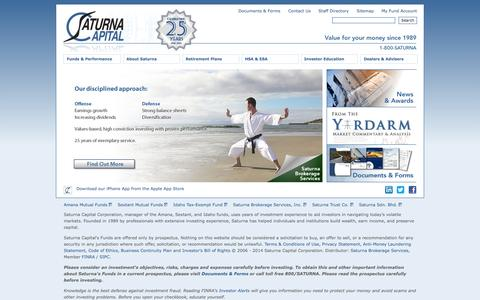 Screenshot of Home Page saturna.com - Investments, Mutual Funds, IRAs, 401(k) Plans, HSAs, ESAs, Employer Retirement Plans, and more! Welcome to Saturna Capital. - captured Sept. 24, 2014