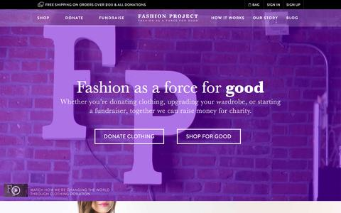 Screenshot of Home Page fashionproject.com - Donate Clothing, Shoes, Handbags, Belts, Jewelry, & Accessories | Fashion Project - captured Oct. 1, 2015