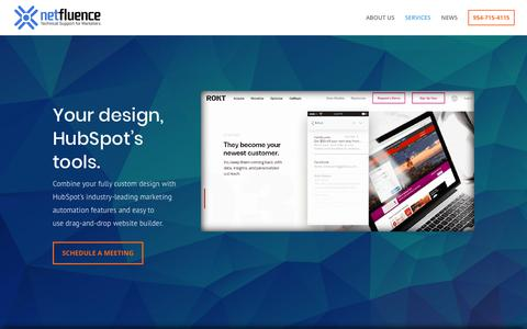 Screenshot of Services Page netfluencecorp.com - Custom HubSpot Templates | Your Brand, Your Design - captured Nov. 2, 2018