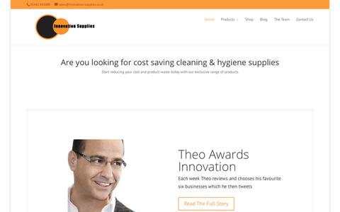 Screenshot of Home Page innovation-supplies.co.uk - Cost saving Cleaning and Hygiene Supplies - captured Nov. 14, 2018