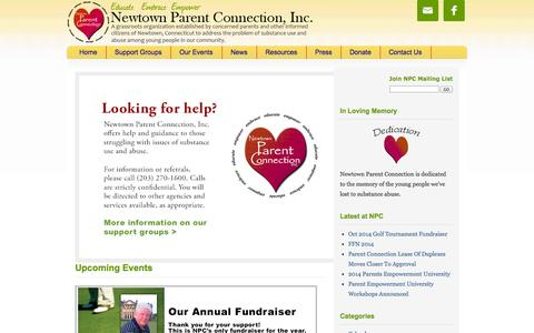 Screenshot of Home Page newtownparentconnection.org - Newtown Parent Connection, Inc. - captured Oct. 7, 2014