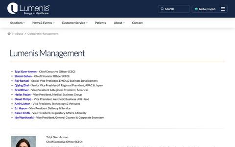 Screenshot of Team Page lumenis.com - Corporate Management - captured Aug. 31, 2018