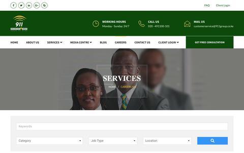 Screenshot of Jobs Page 911group.co.ke - Careers 911 – 911 - captured Nov. 15, 2018