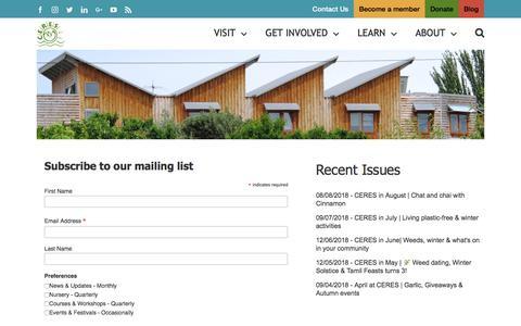 Screenshot of Signup Page ceres.org.au - Newsletter Signup | CERES Community Environment Park - captured Sept. 25, 2018