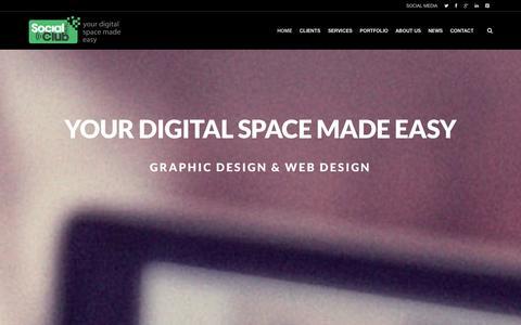 Screenshot of Home Page socialclubmedia.com.au - Social Club Media - Your Digital Space Made Easy - captured Sept. 30, 2014