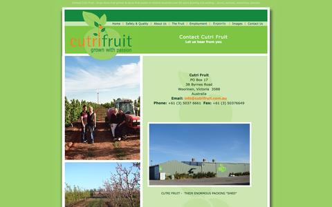 Screenshot of Contact Page cutrifruit.com.au - Contact Cutri Fruit Victoria Australia Grower Packer Peaches, Plums, Nectarines, Apricots - captured Sept. 30, 2014
